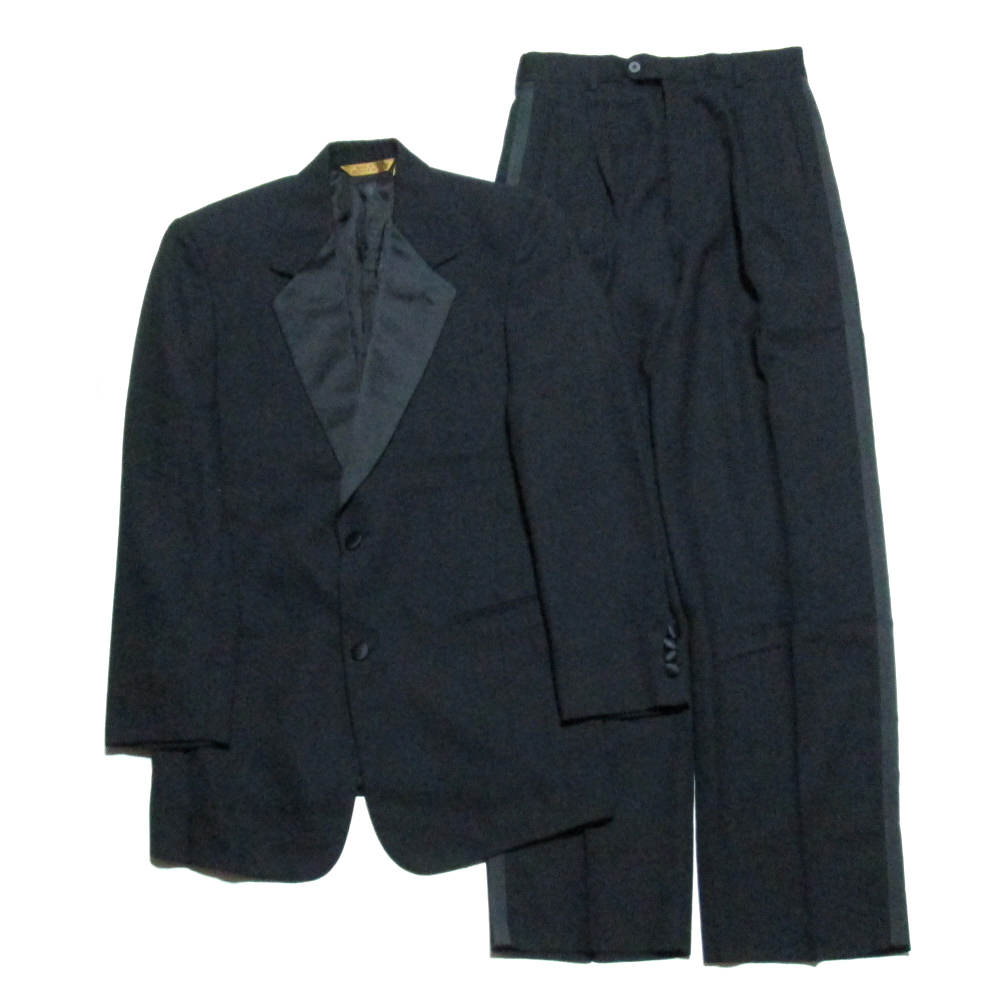 DONNA KARAN NEW YORK ダナキャランニューヨーク ITALY タキシードセットアップスーツ (イタリア製 ジャケット パンツ DKNY) 060797 【中古】