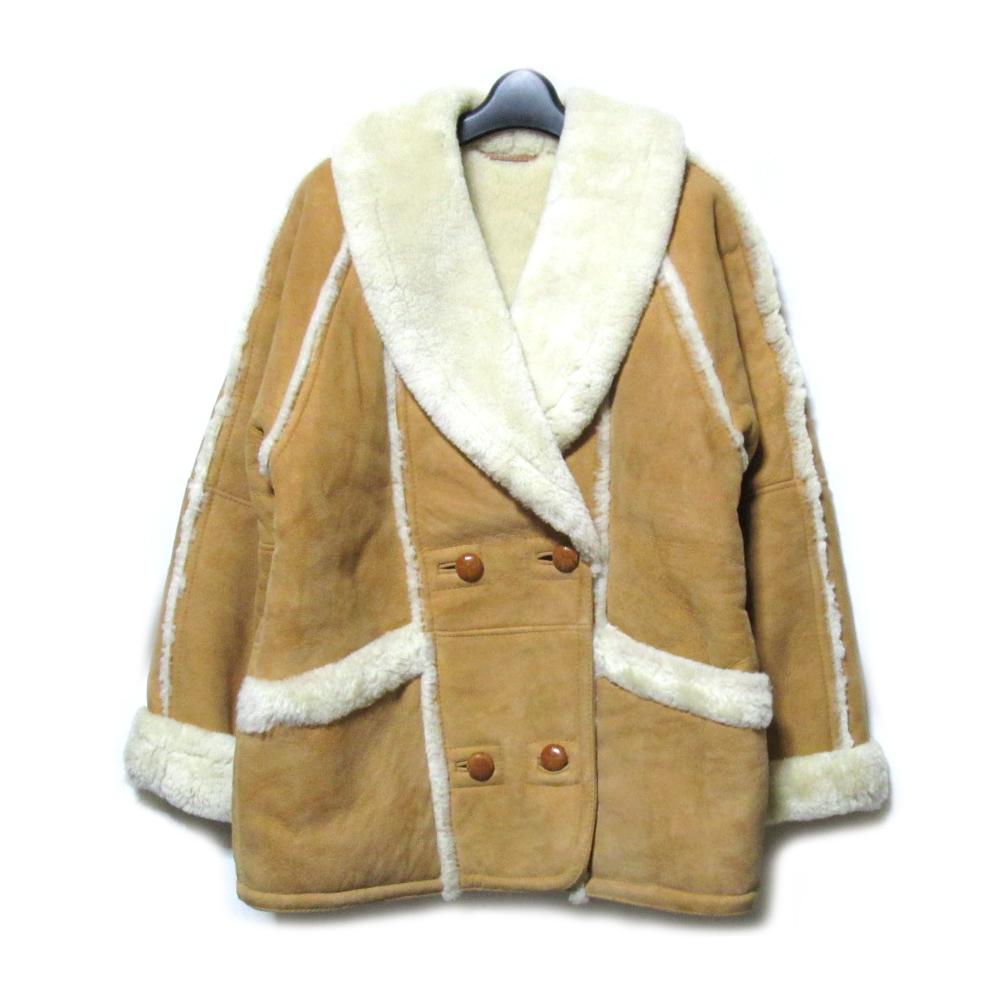 SUPRODAN S.A 「M」 Mouton leatherette jacket リアル ムートン レザー ジャケット・ブルゾン (革 皮) 062275 【中古】