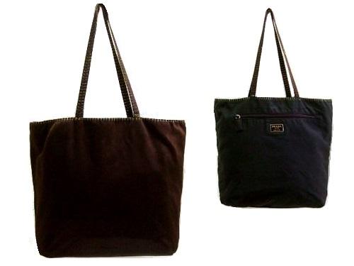 PRADA プラダ ITALY イタリア製 リバーシブル サテン×ナイロン トートバッグ (鞄カバン) 064702 【中古】