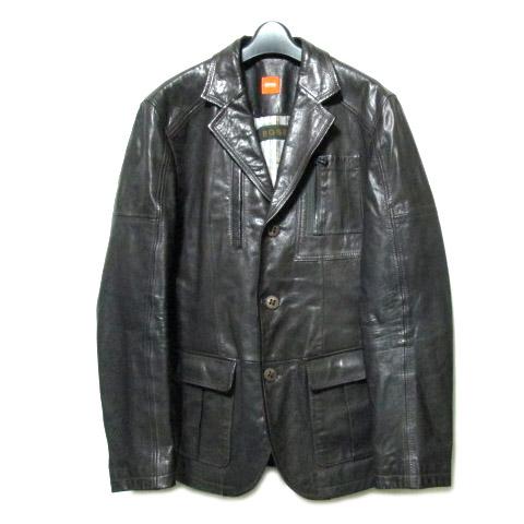 BOSS HUGO BOSS ボスヒューゴボス 「48」 レザー サファリ ジャケット (皮革 ブルゾン) 066127 【中古】