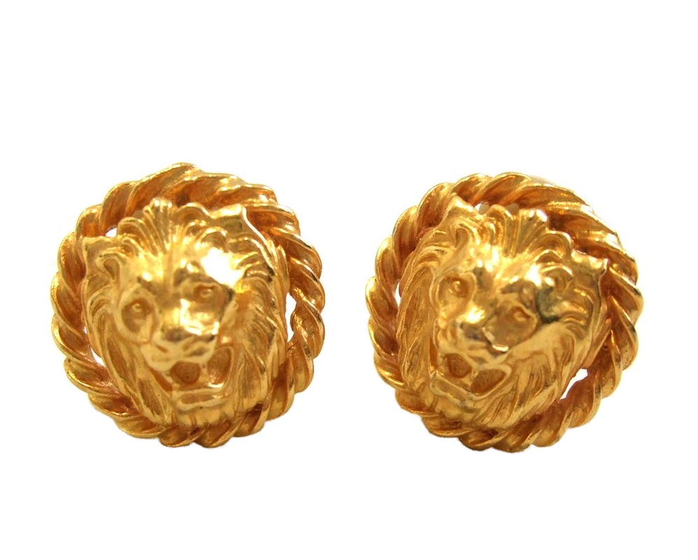80 S Vintage Old Anne Klein Gold Tiger Earrings Accessories 067925