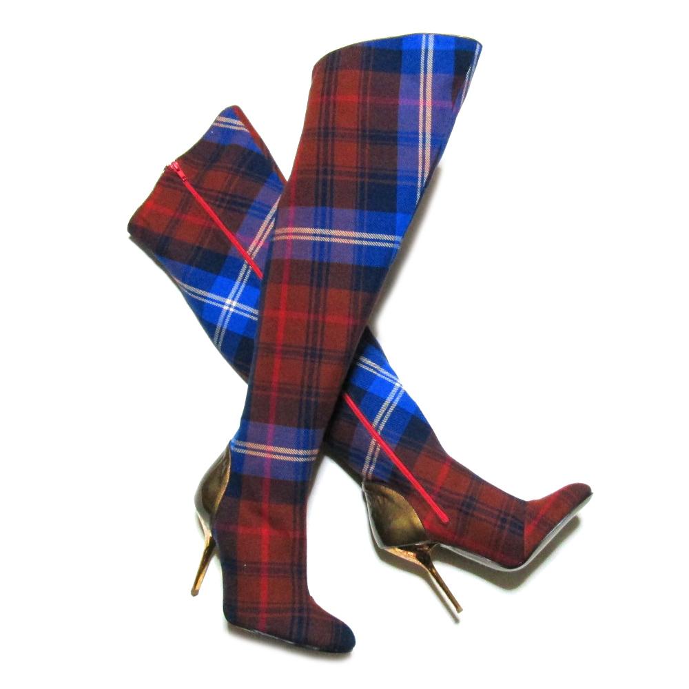 新品同様 廃盤 Vivienne Westwood ITALY ヴィヴィアンウエストウッド 「38」 イタリア製 タータンチェッック ニーハイブーツ (靴) 070826 【中古】