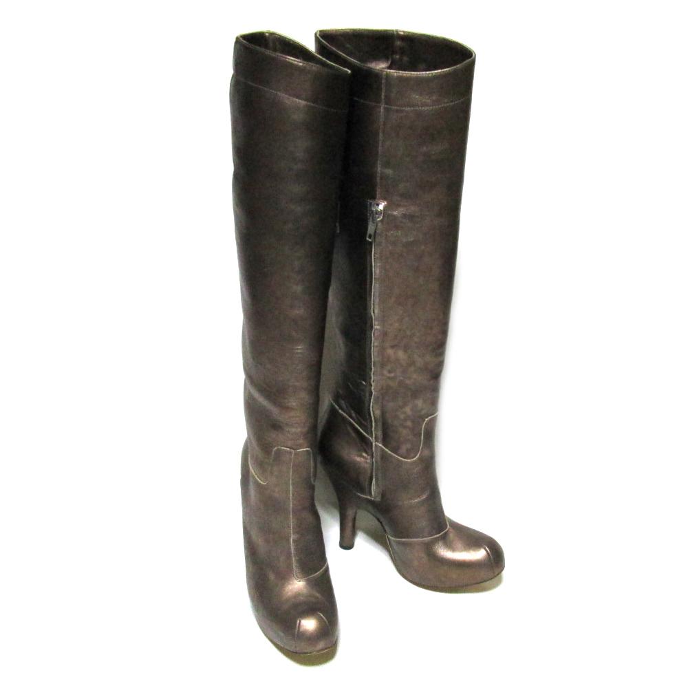 新品同様 廃盤 Vivienne Westwood ヴィヴィアンウエストウッド 「37」 イタリア製 ゴールドレザー二―ハイブーツ (靴 ビビアン) 070827 【中古】