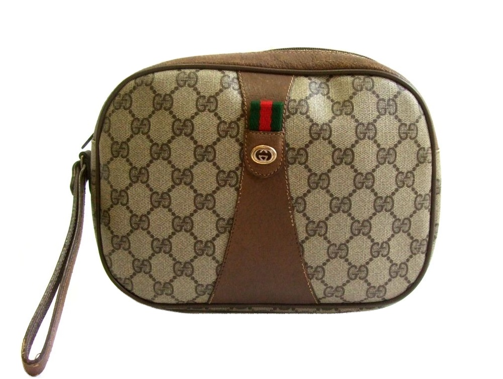 b80d63e01f7 Monogram clutch second bag (bag bag) made in vintage old GUCCI vintage old  Gucci Italy 071414