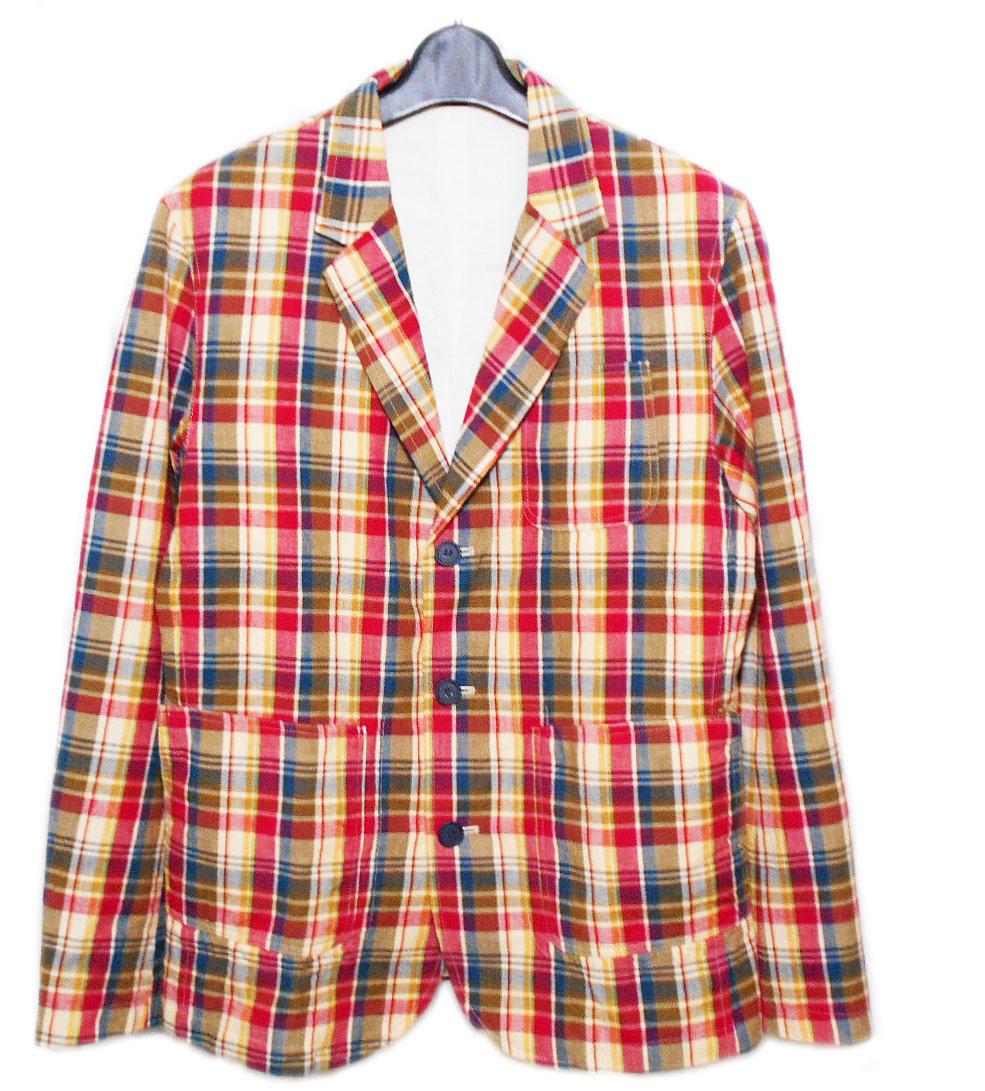 美品 IN 印 「M」 マルチカラーチェック テーラードジャケット (日本製 京都) 080164 【中古】