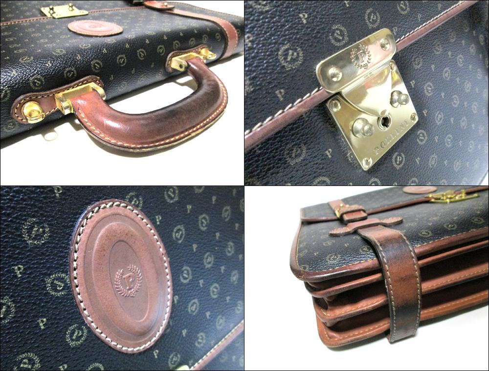 Vintage old POLLINI 빈티지 올드 포리니 이탈리아제 모노그램 레더 숄더 브리프케이스(포건부) 088342