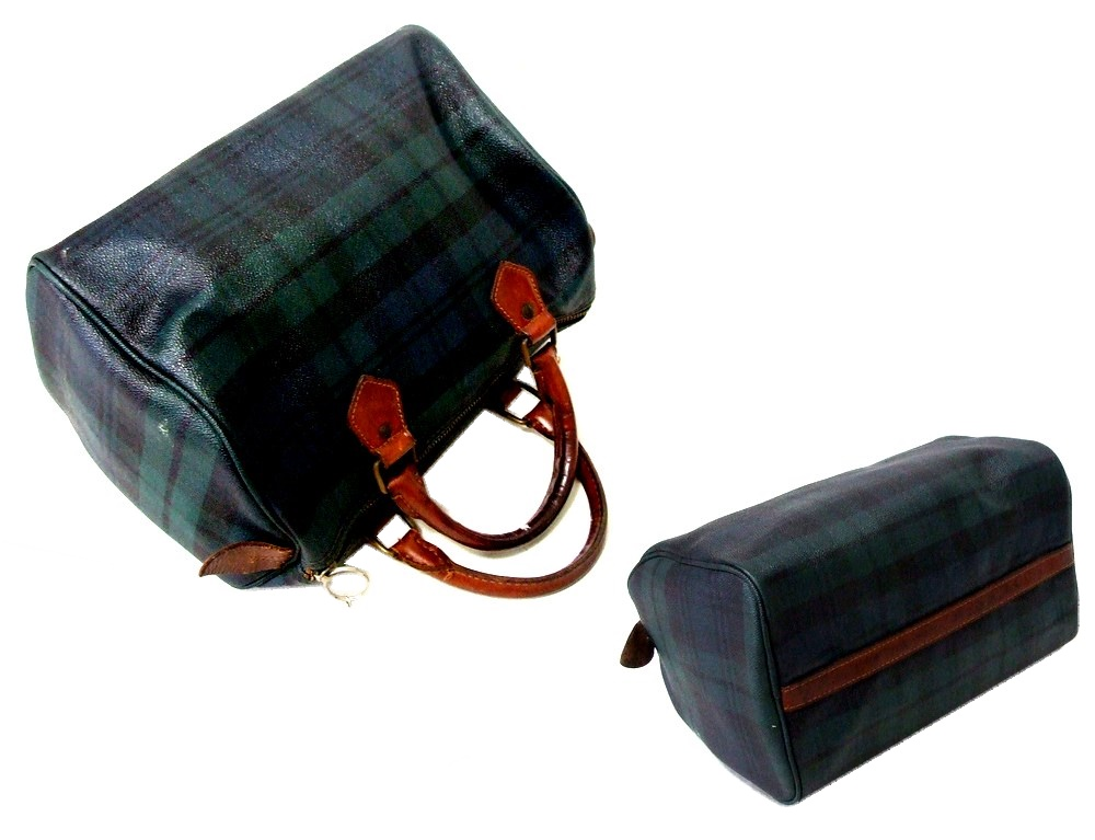 Worn    SALE  Polo Ralph Lauren Polo Ralph Lauren Tartan check Boston bags (bag  bag) 089278 8794849432