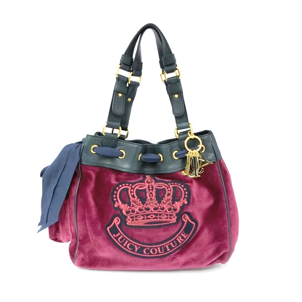 Juicy Couture Crown Velour Handbag Leather Tote Bag And 090038