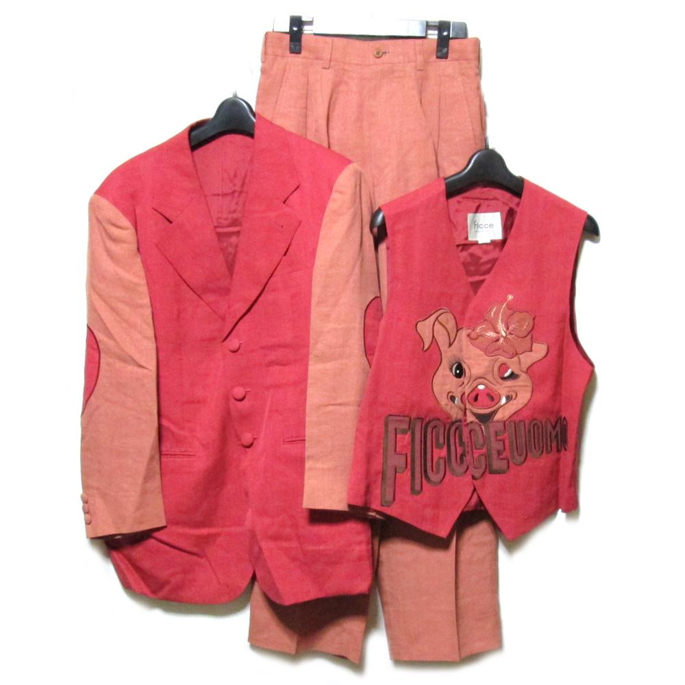 vintage YOSHIYUKI KONISHI FICCE UOMO ヴィンテージ ヨシユキコニシ フィッチェ ウォーモ スリーピースセットアップスーツ (ドン小西) 091568 【中古】