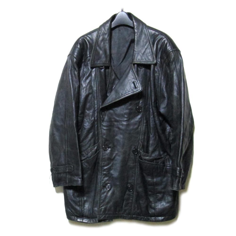 select セレクト 黒レザーPコート (革 皮) 093144 【中古】
