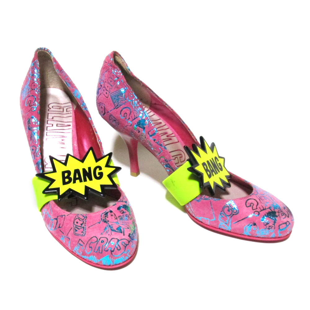 GLAM GENE グラムジーン 「23.5」 BANGベルト付レザーヒールパンプス (靴 シューズ ピンク) 096130 【中古】