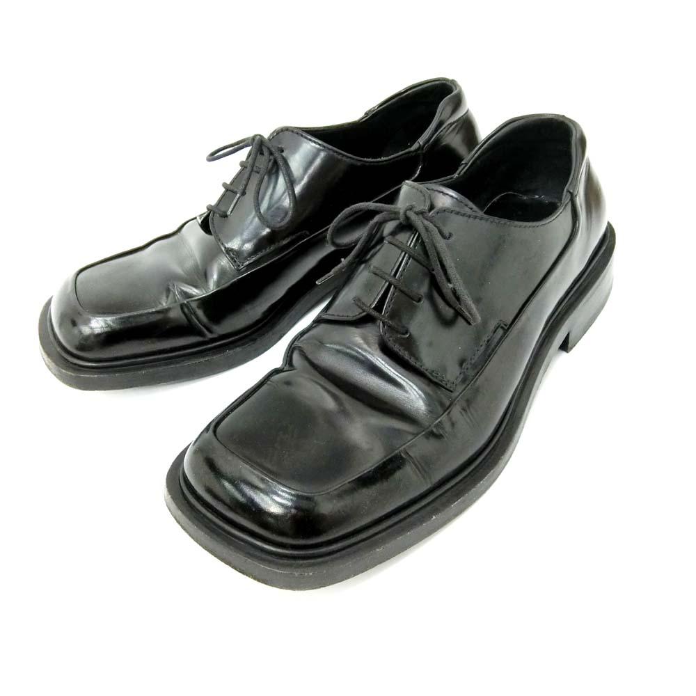 PRADA プラダ 「7」 イタリア製 プレーンレザーシューズ (黒 靴 スニーカー ラバーソール シューズ) 096519 【中古】