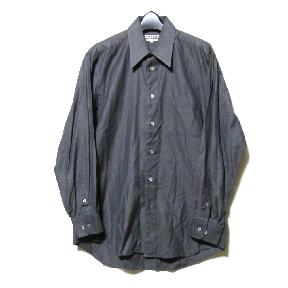 Jean Paul GAULTIER HOMME ジャンポールゴルチエ オム 「46」 スタンドカラーシャツ (黒 グレー ゴルチェ 長袖) 099469 【中古】