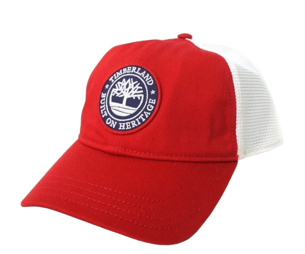 \3980以上購入で 送料無料 売り込み 新古品 Timberland ティンバーランド メッシュキャップ 帽子 中古 099567 白 贈呈 エンブレム 赤