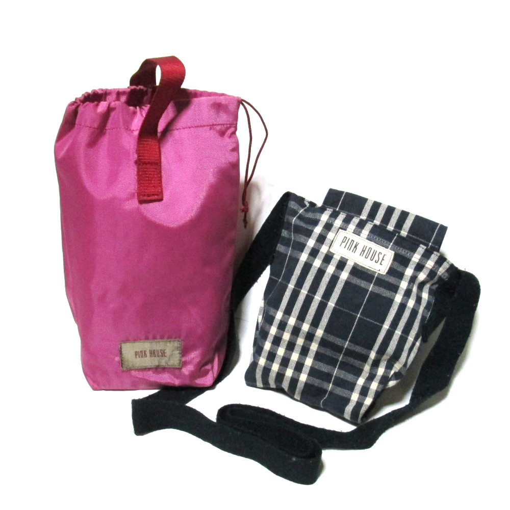 80's vintage PINK HOUSE 80年代ヴィンテージ ピンクハウス ショルダーバッグ、ポーチ 2点セット (カネコイサオ) 100454 【中古】