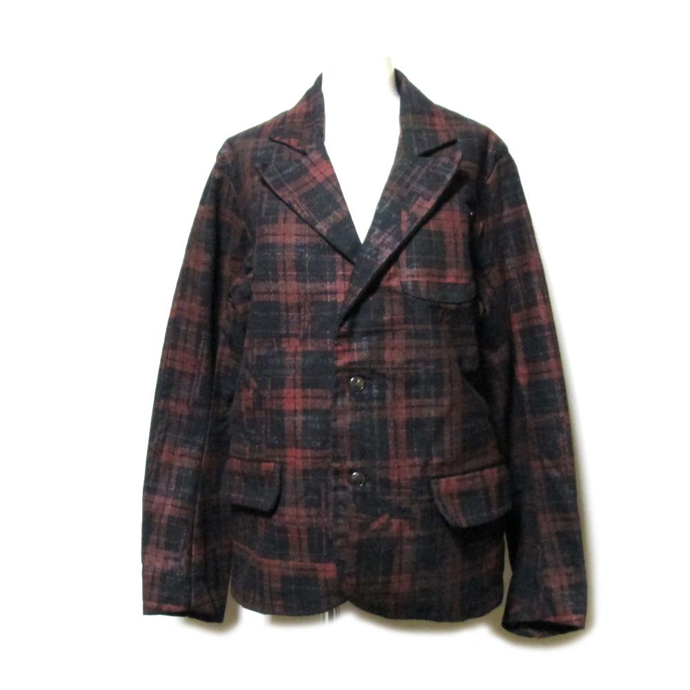 新品同様 h.NAOTO エイチナオト タータンチェック3Bジャケット (黒 赤) 101499 【中古】