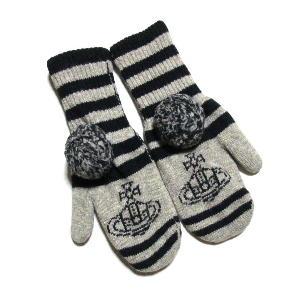 廃盤 Vivienne Westwood ヴィヴィアンウエストウッド ボンボンミトングローブ.手袋 (黒 グレー ORB オーブ) 101699 【中古】