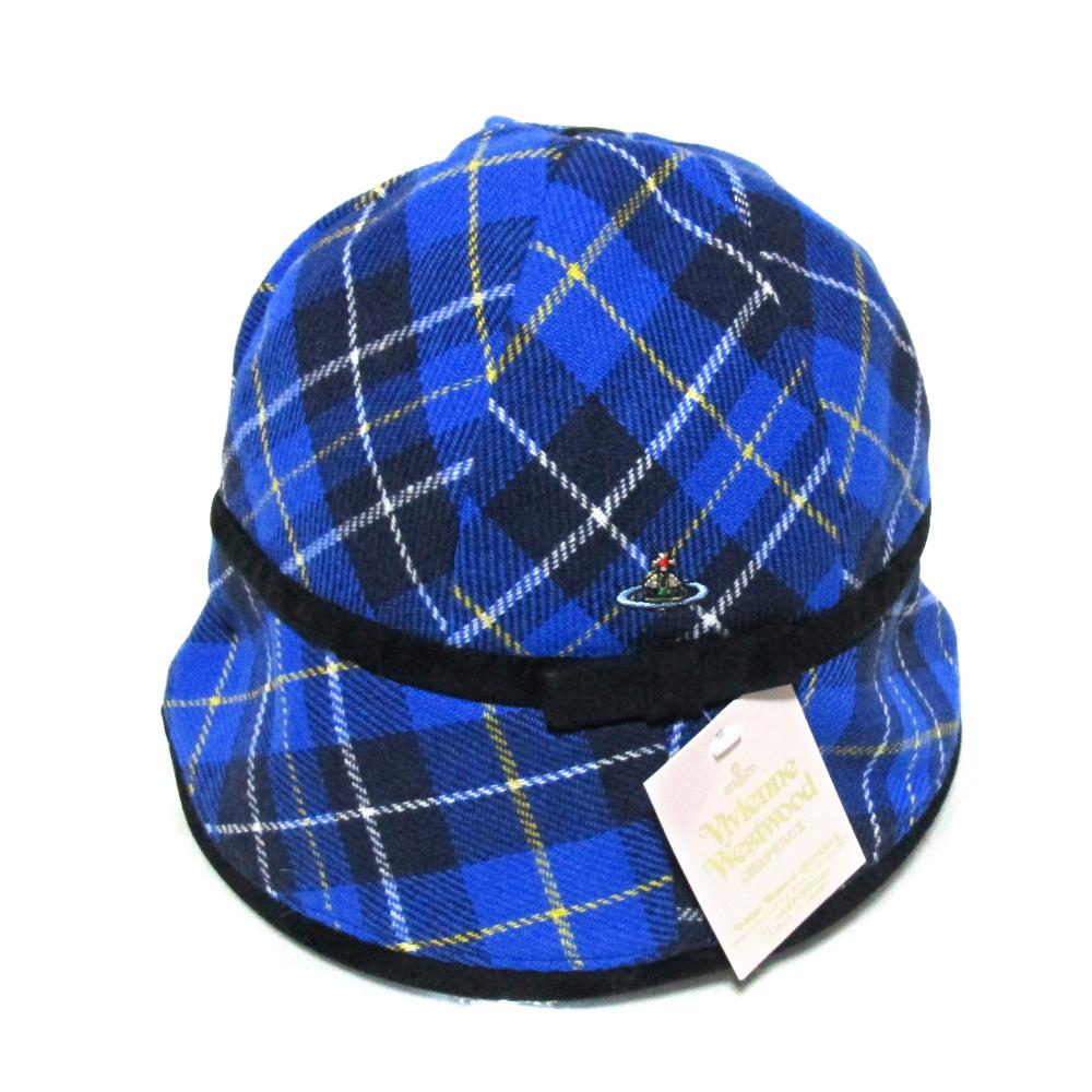 \3980以上購入で【送料無料】 【新古品】 廃盤 Vivienne Westwood ヴィヴィアンウエストウッド タータンチェックウールハット (青 ユニセックス 帽子 MAN マン) 101741 【中古】
