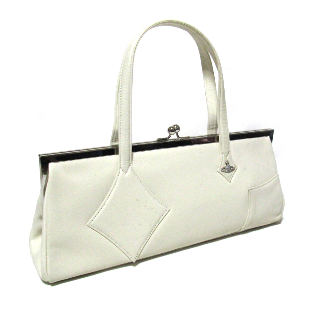 廃盤 Vivienne Westwood ヴィヴィアンウエストウッド ダイヤグロウレザーハンドバッグ (白 鞄 革 皮) 101790 【中古】