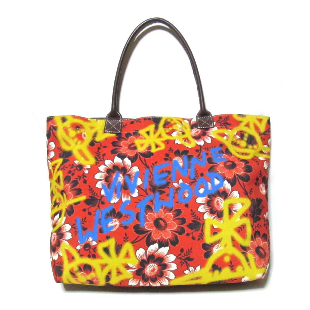 廃盤 Vivienne Westwood ヴィヴィアンウエストウッド ワイドフラワートートバッグ (赤 レザーハンドル) 102486 【中古】