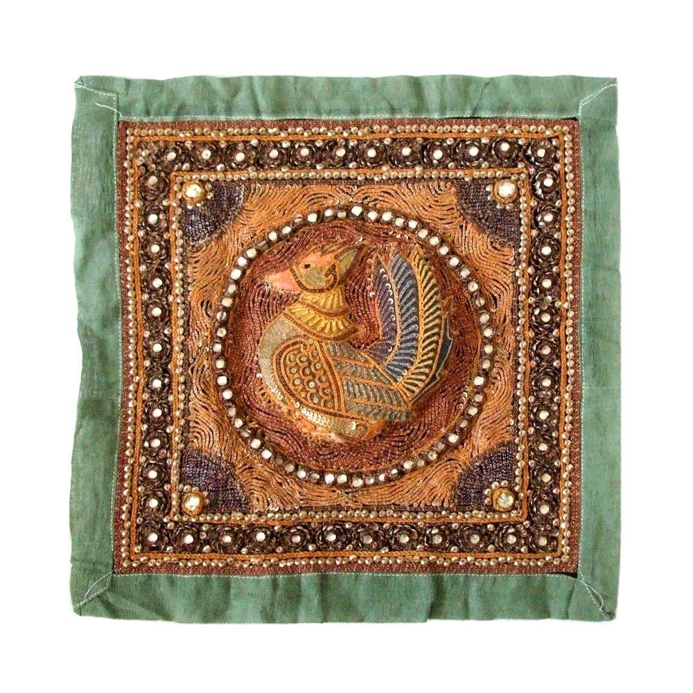 African traditional crafts アフリカ伝統工芸 刺繍タペストリー (絵画 布) 102588 【中古】