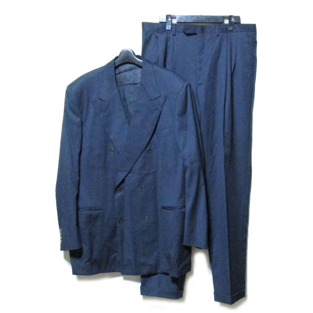 難有 [SALE] LANVIN ランバン 「54」 イタリア製 ダブルブレスセットアップスーツ (紺 ネイビー ジャケット フレンチ) 102604 【中古】