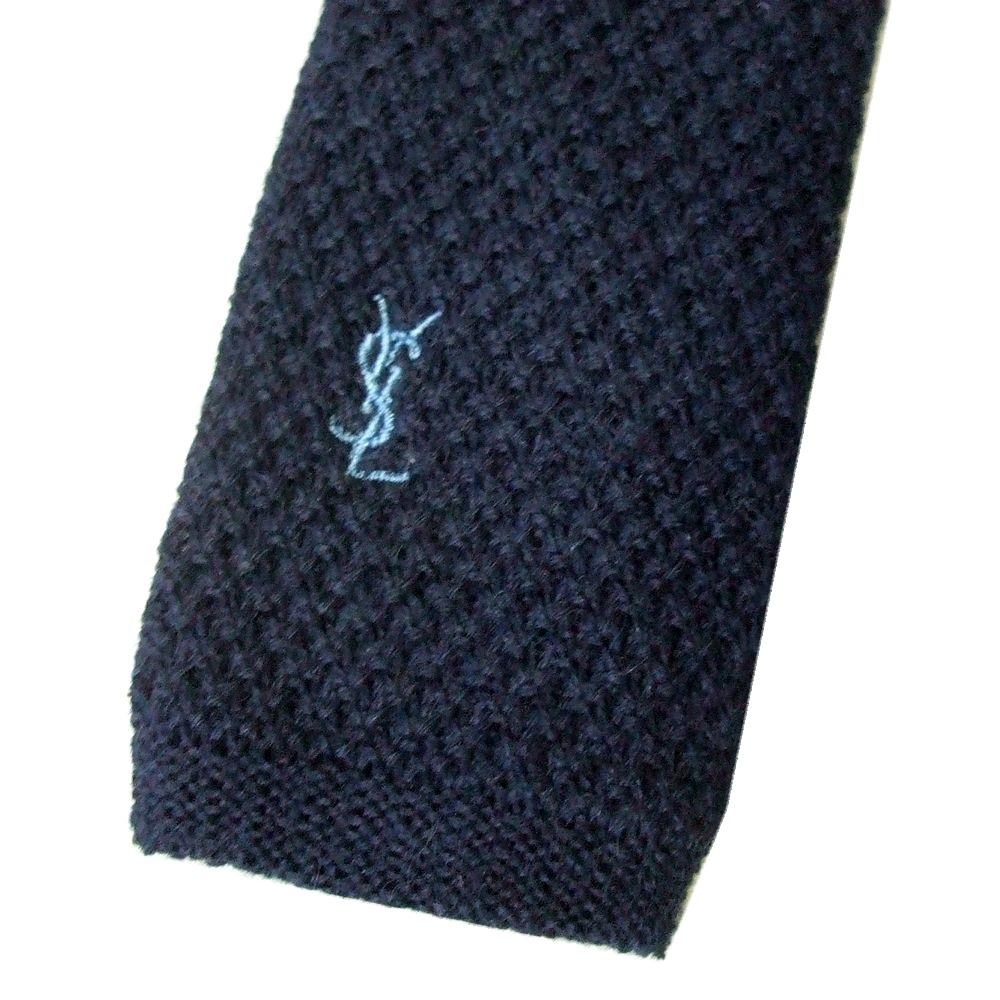 dd5171252ff47 Yves Saint Laurent Yves Saint-Laurent knit tie (dark blue navy stick  Thailand ribbon Thailand) 103378