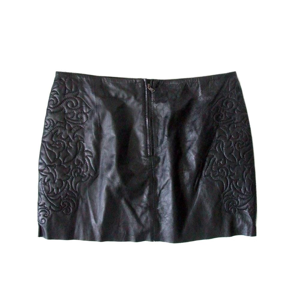 6f2c49d7 Embroidered Leather Mini Skirt Zara | Saddha