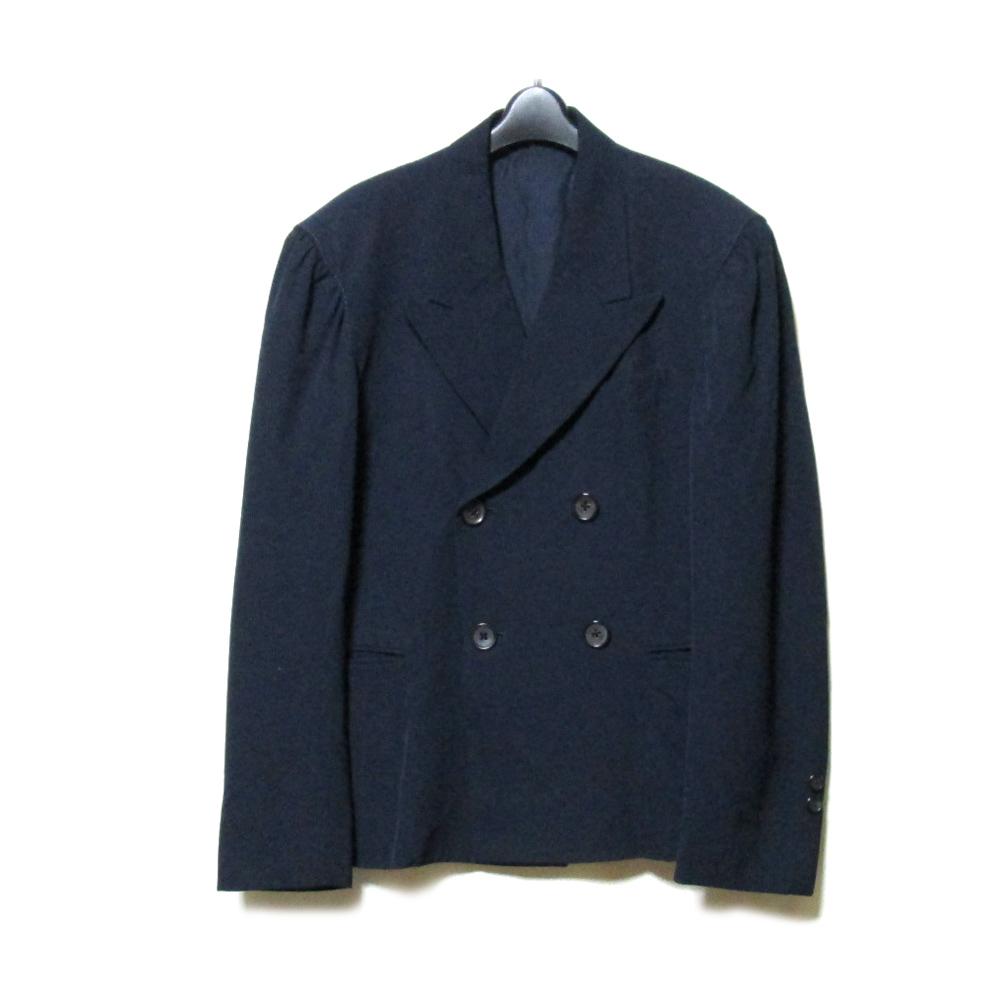 Yohji Yamamoto POUR HOMME ウジヤマモト プールオム 「L」 ダブルブレスプリーツジャケット (濃紺 ネイビー ギャバジン) 103777 【中古】