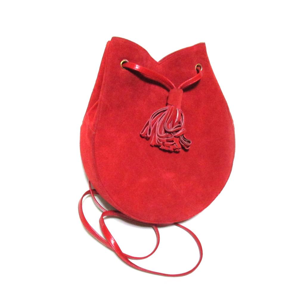 Vintage CHARLES JOURDAN ヴィンテージ シャルル ジョルダン フランス製 レザーシェルショルダーバッグ (赤 鞄 皮 革 スエード アンティーク) 104172 【中古】