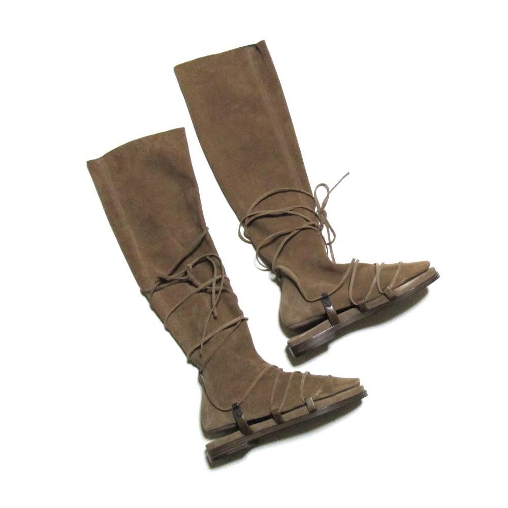 【新古品】 BOTTEGA VENETA ボッテガヴェネタ 「36」 レイヤードスエードレザーロングブーツ (ブラウン 靴 革 皮) 105003 【中古】