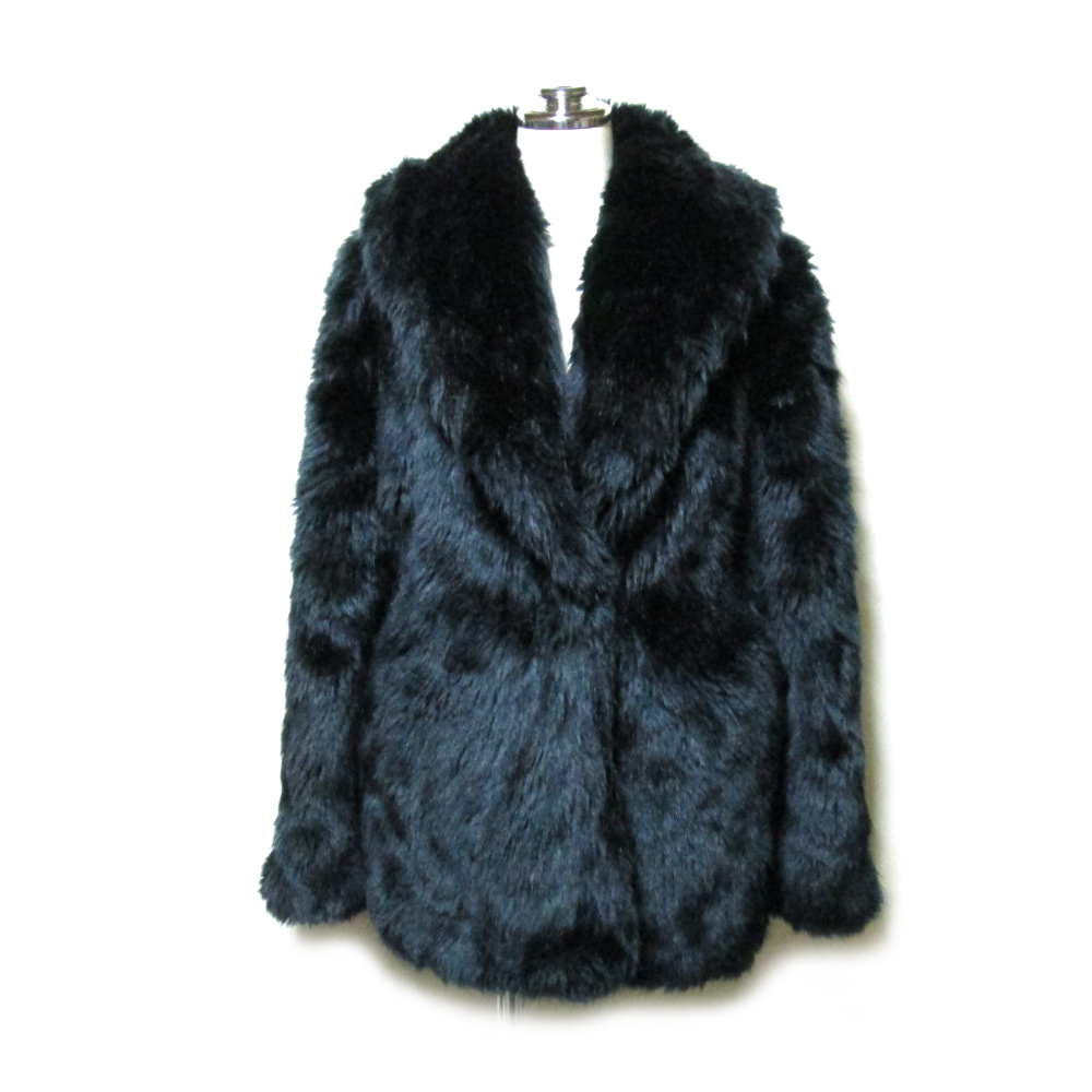 美品 CECIL McBEE セシルマクビー 「M」 ファージャケット (毛皮 黒 コート ブルゾン) 105015 【中古】