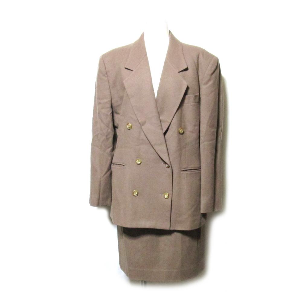 Calvin Klein カルバンクライン 「11」 ダブルブレスセットアップスーツ (キャメル スカート ウール) 105017 【中古】