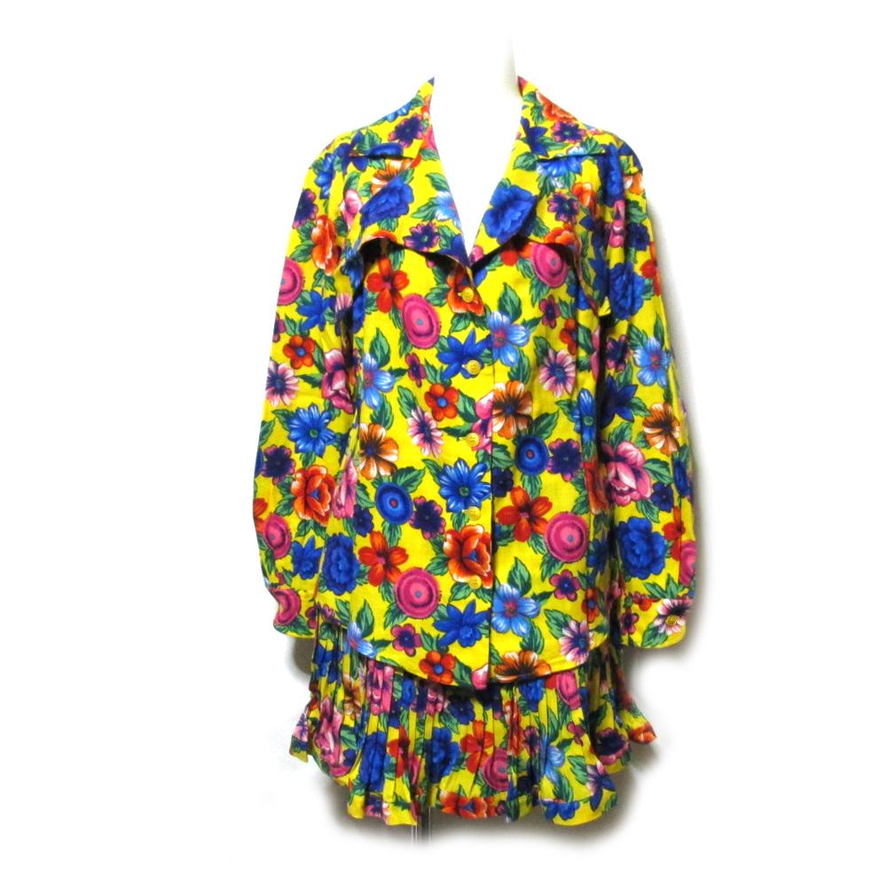 \3980以上購入で 送料無料 Vintage KENZO 《週末限定タイムセール》 モデル着用 注目アイテム ヴィンテージ ケンゾー フラワーパターンセットアップスーツ 中古 105715 プリーツスカート 花柄 ワンピース 高田賢三