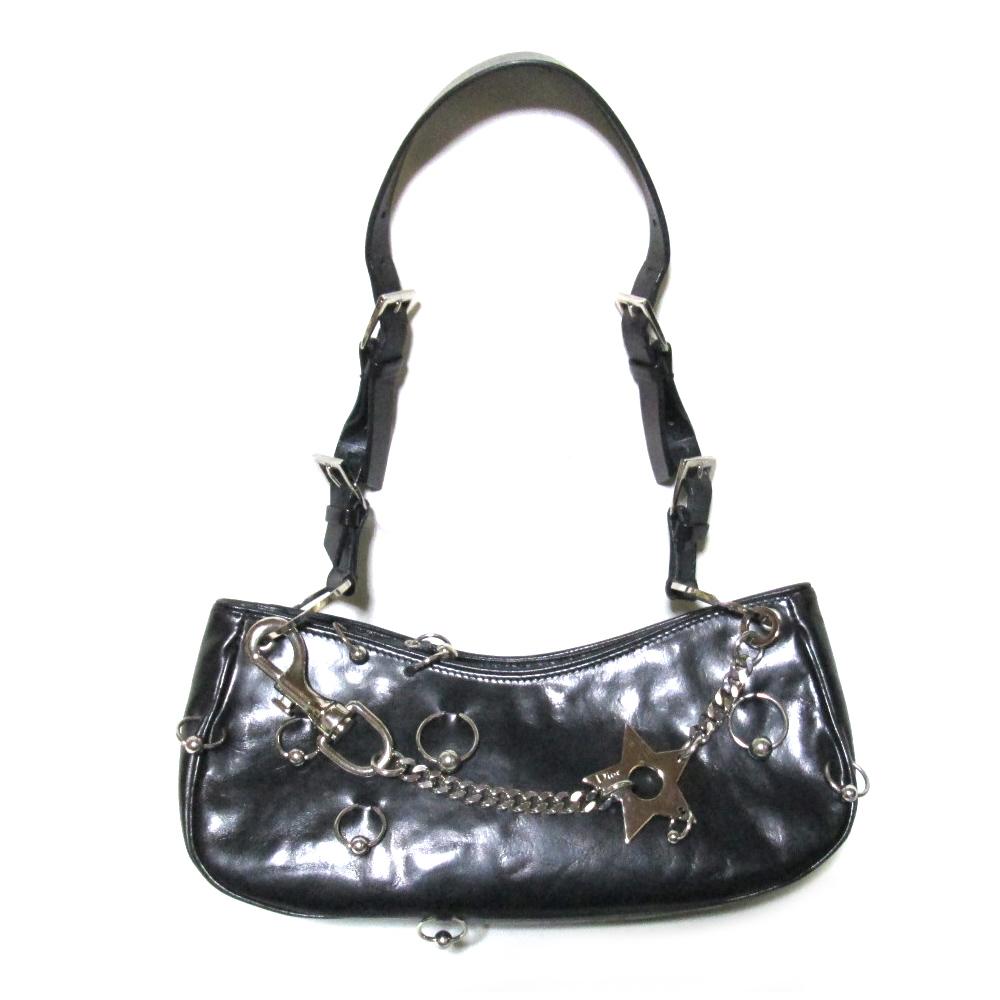 Christian Dior クリスチャンディオール イタリア製 アナーキーバッグ (黒 革 皮 ショルダーバッグ ハンドバッグ パーティ) 106022 【中古】