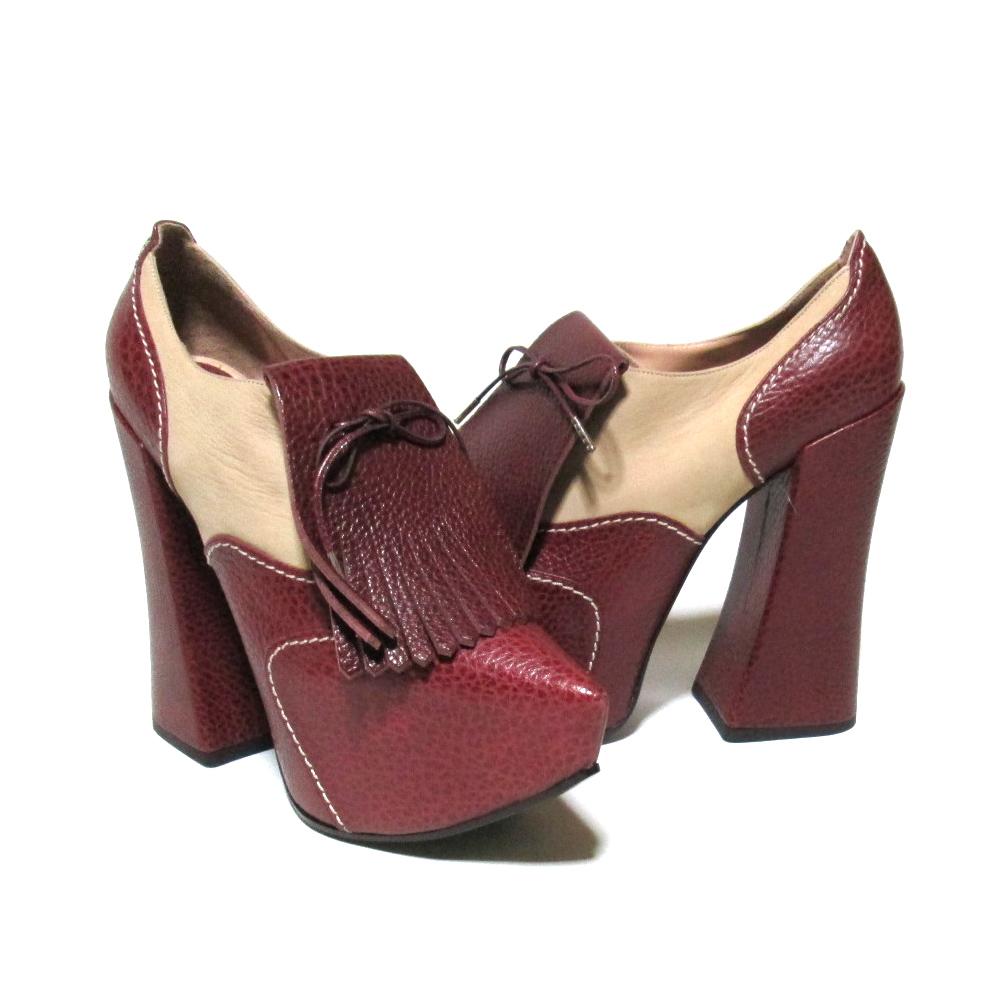 【新古品】 Vivienne Westwood ヴィヴィアンウエストウッド 「39」 イタリア製 エレベーテッドゴルフブーツ (茶色 白色 ヒール 革 皮 靴 シューズ) 106381 【中古】