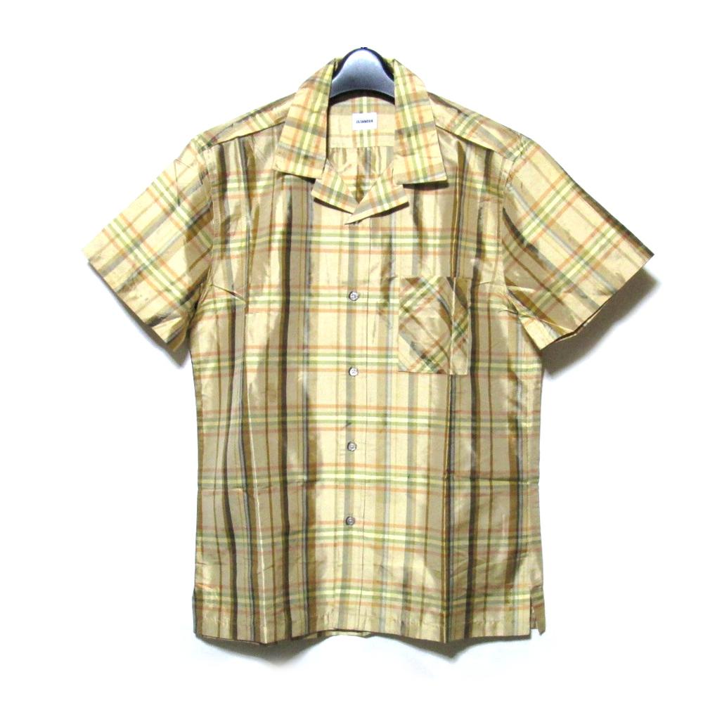 JIL SANDER ジルサンダー 「41」 イタリア製 タータンチェックシルクシャツ (半袖 絹) 106572 【中古】