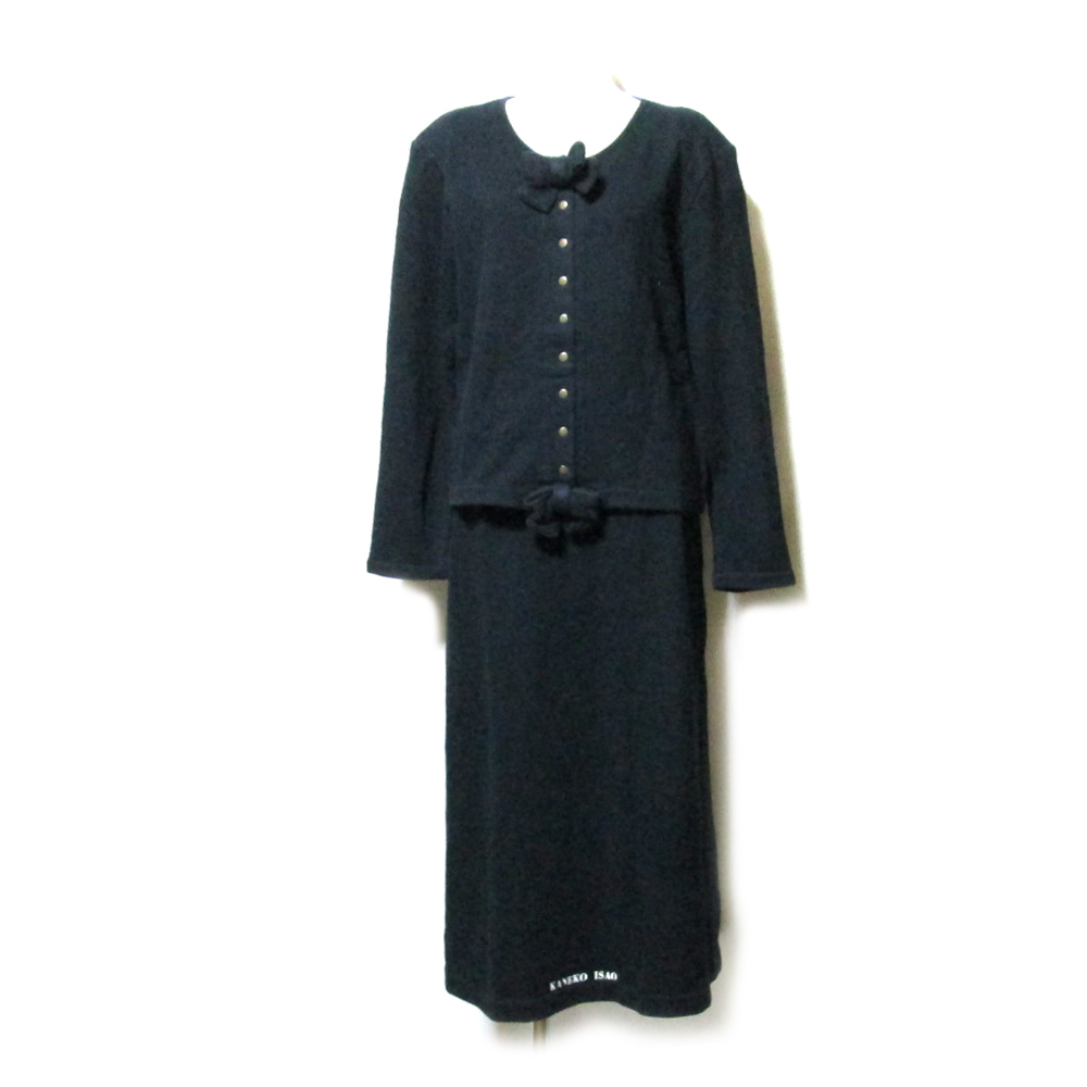 Vintage KANEKO ISAO ヴィンテージ カネコイサオ スエットセットアップスーツ (黒 PINK HOUSE ピンクハウス ロングスカート カーディガン マキシ丈) 107567 【中古】