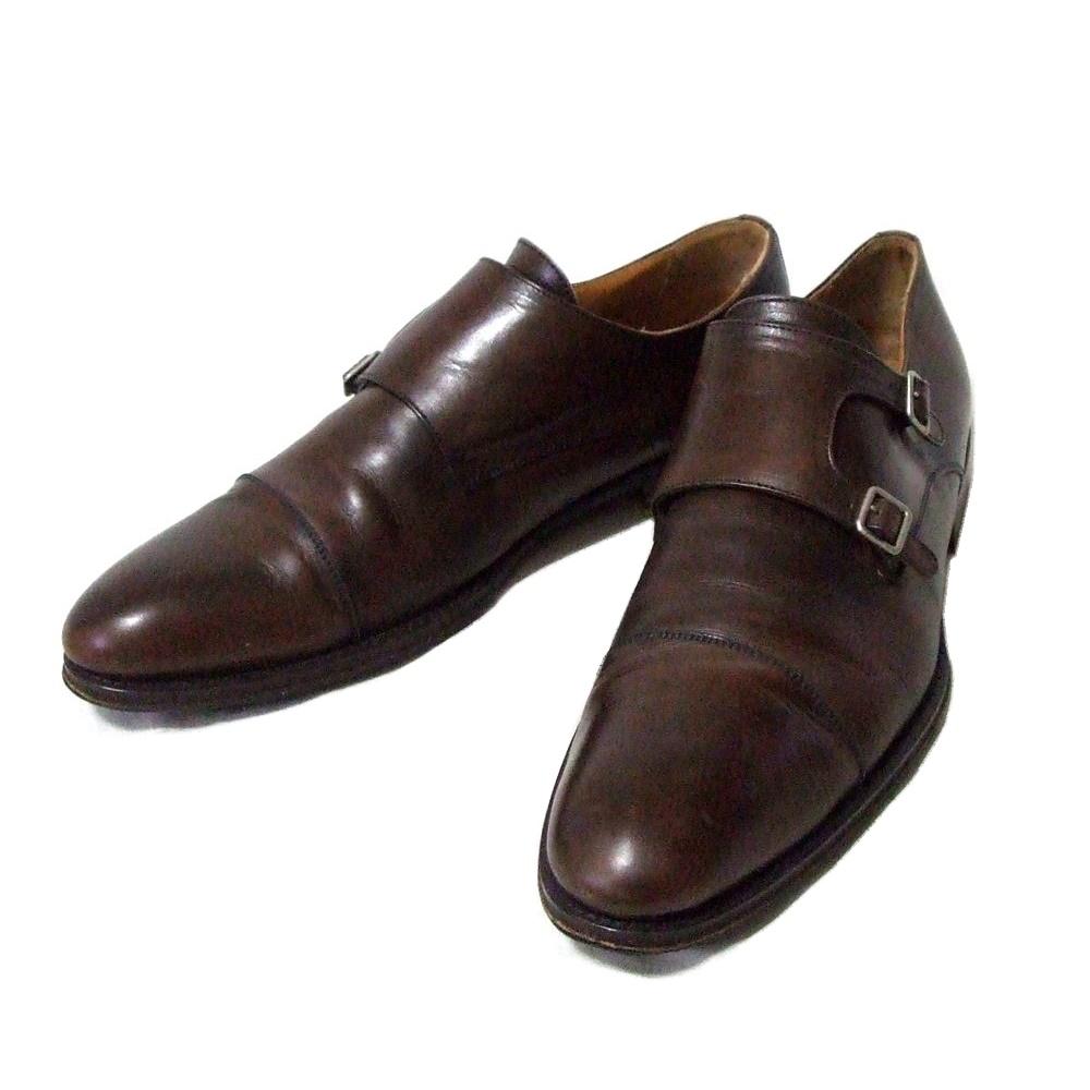 PACO MILAN パコミラン 「45」 モンクストラップレザーシューズ (スペイン製 皮 革 靴 ビジネス 茶色) 107585 【中古】