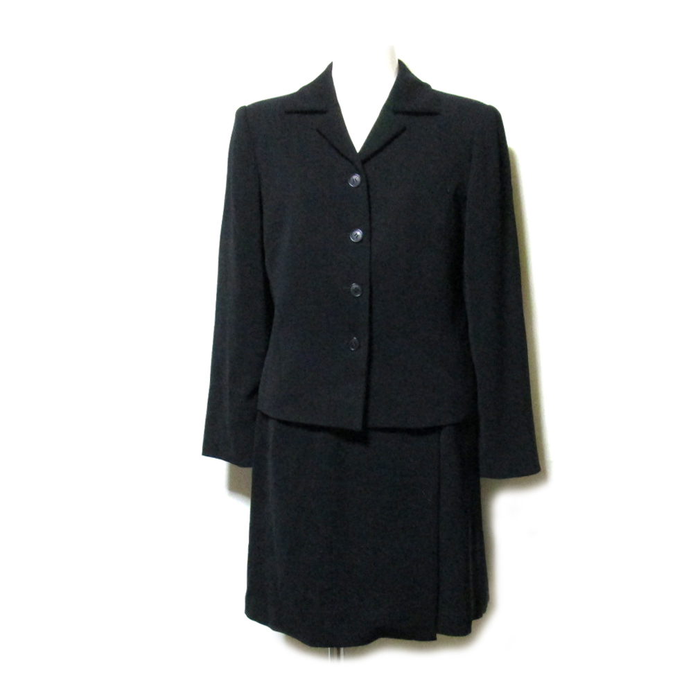 LANVIN ランバン 「36」 定番セットアップスーツ (黒 ギャバジン スカート ジャケット) 107846 【中古】