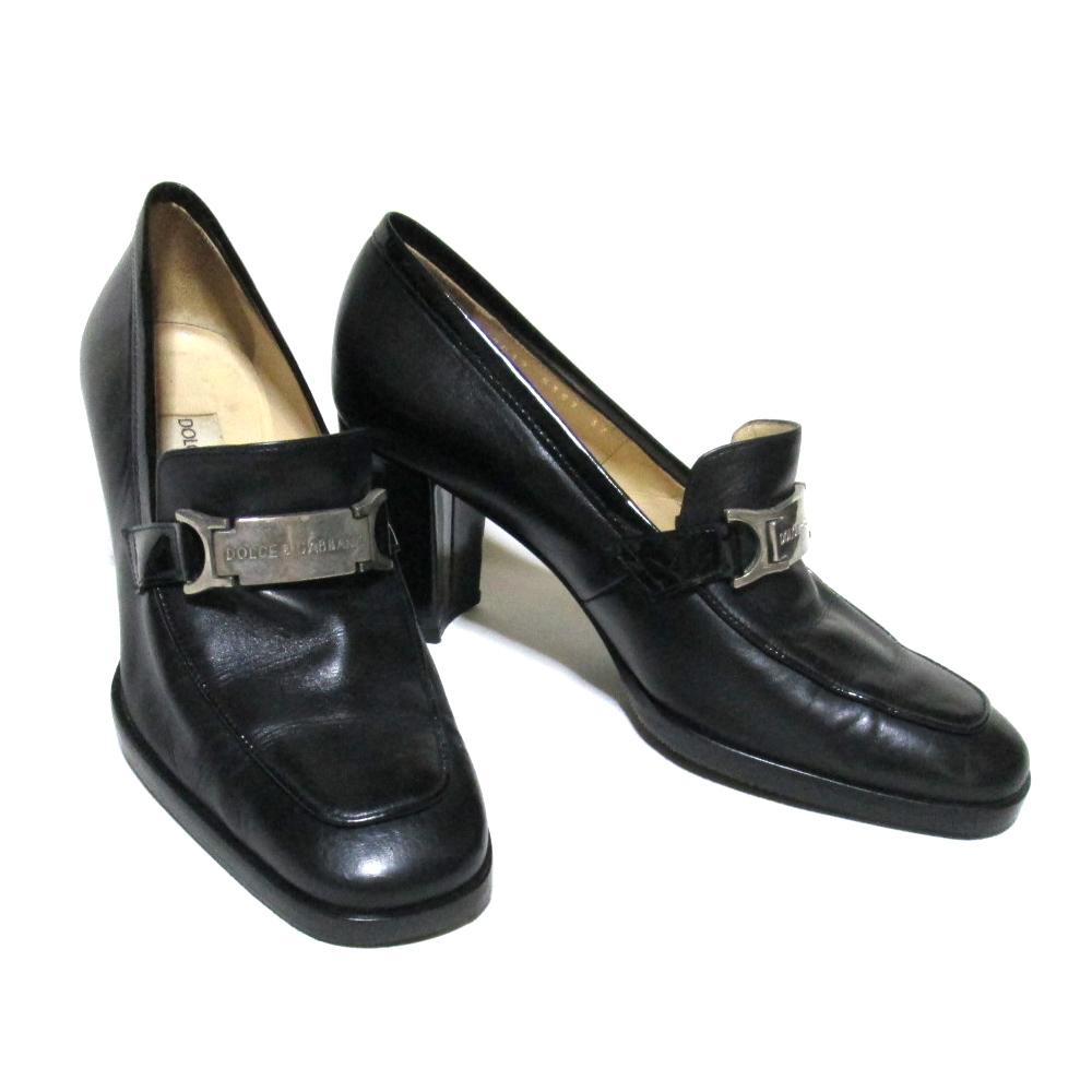 Dolce&Gabbana ドルチェ&ガッバーナ 「37」 プレートレザーヒールシューズ (黒 ドルガバ 革 皮 シューズ 靴 パンプス) 107849 【中古】