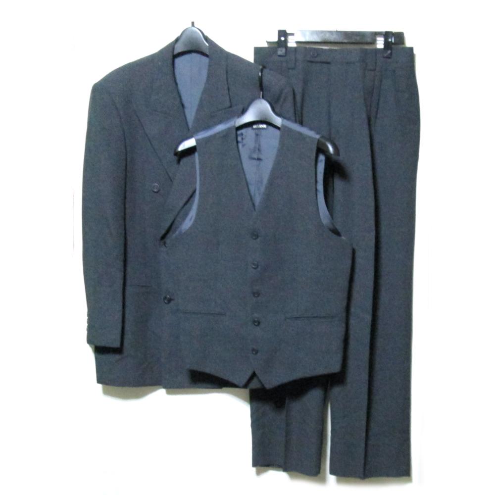 BIGLIDUE ビリドゥーエ 「46」 スリーピースセットアップスーツ (黒 グレー 3点セット ベスト) 108385 【中古】