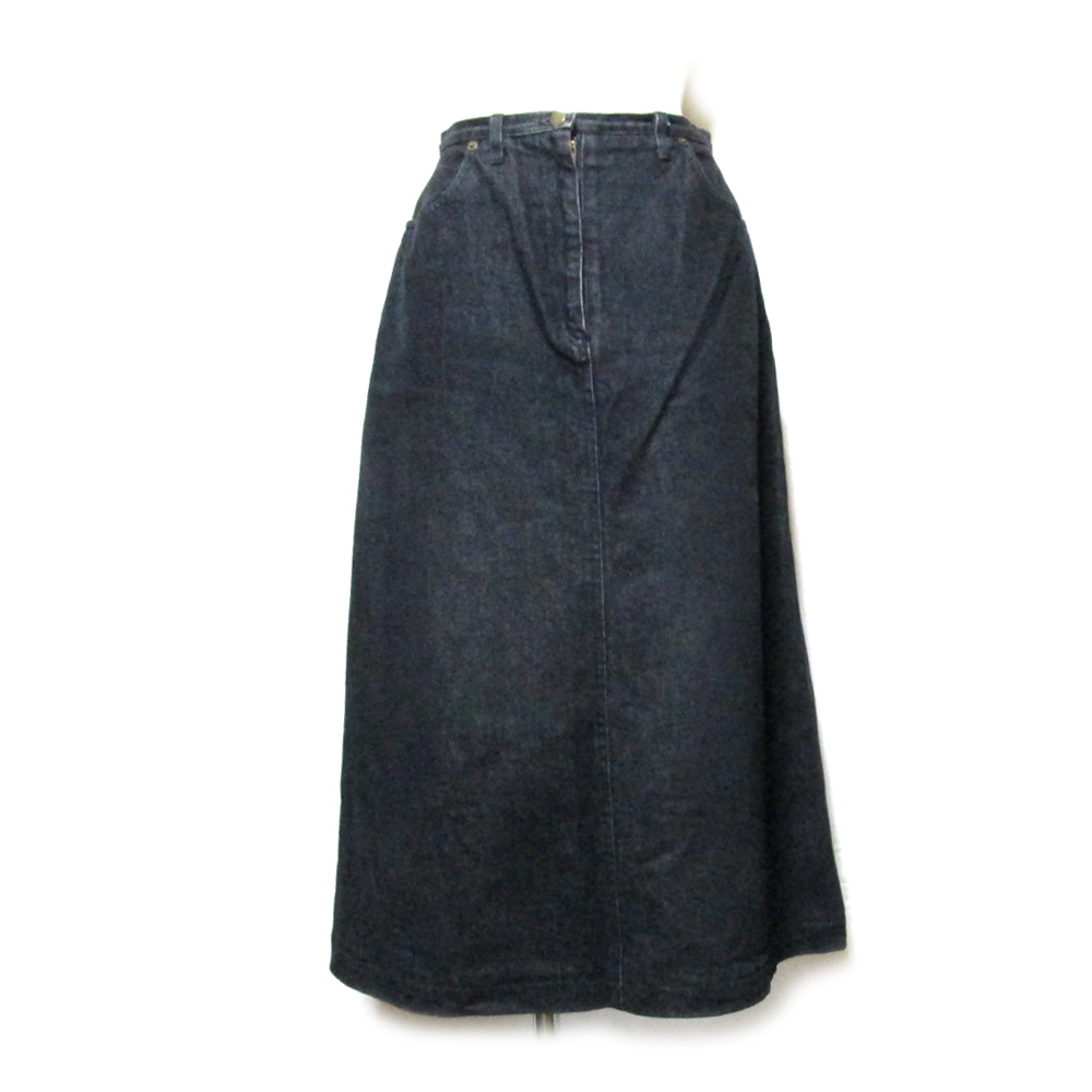 Vintage old KANEKO ISAO ヴィンテージ オールド カネコイサオ デニムロングスカート (黒 マキシ丈 金子功 PINK HOUSE ピンクハウス) 108486 【中古】