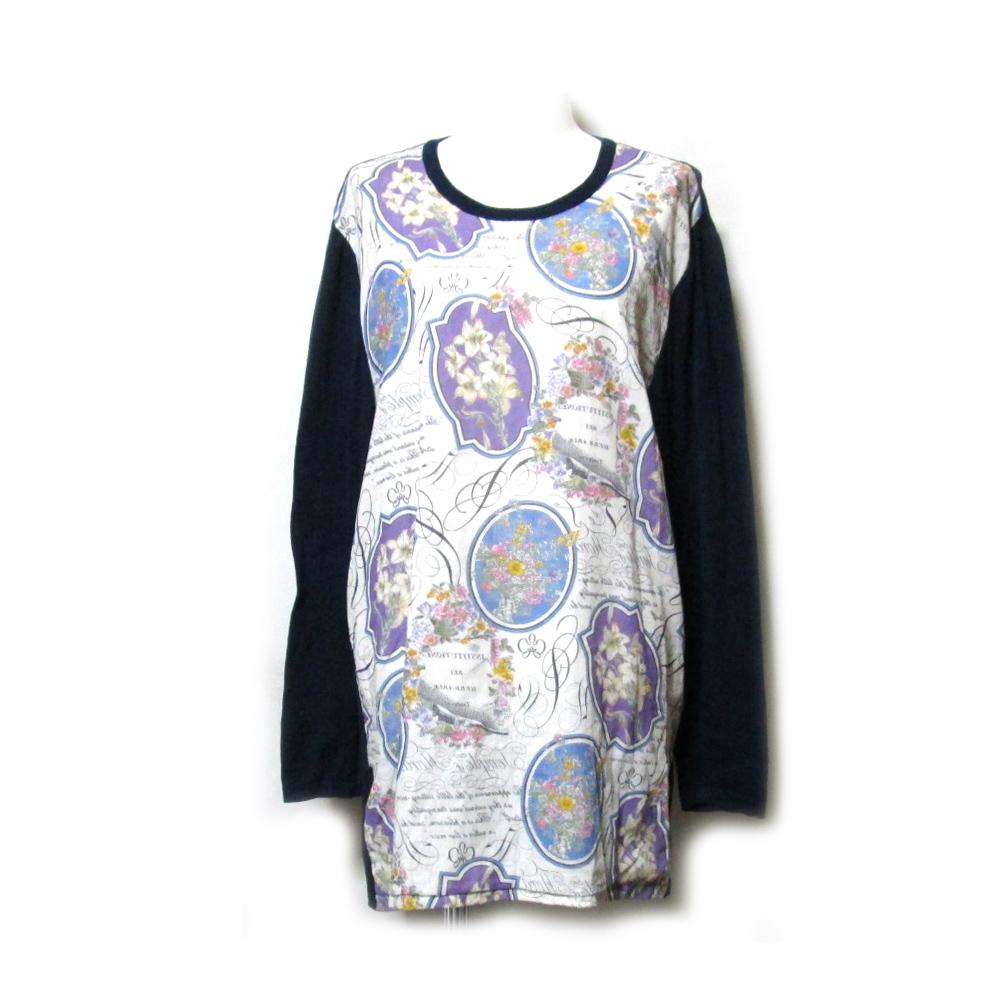 Pq PARIS ピーキューパリス フロントフラワー切り替えニットセーター (紺 花柄 カットソー) 108709 【中古】