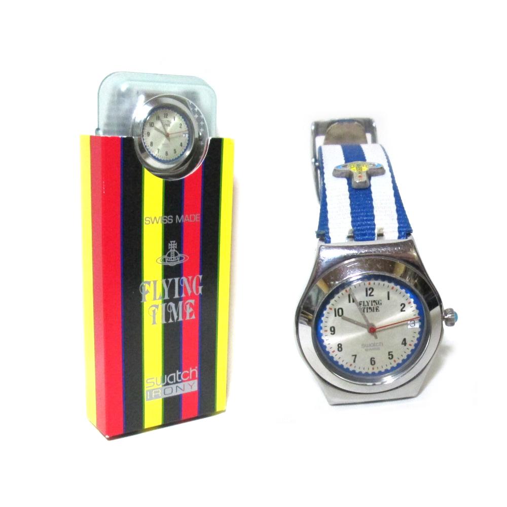 廃盤 Vivienne Westwood×Swacth ヴィヴィアンウエストウッド×スウォッチ FLYING TIME ウォッチ 腕時計 (ワールズエンド フライングタイム 稼働品) 108907 【中古】