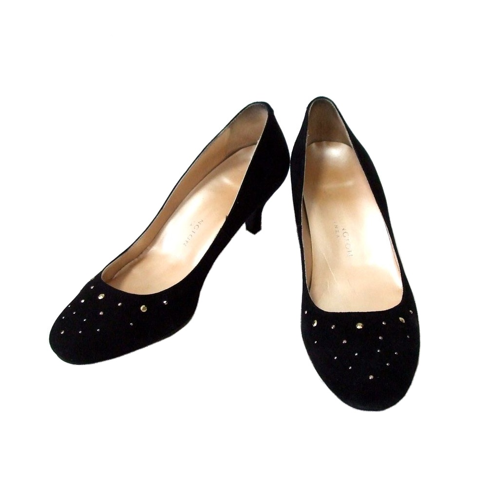 WASHINGTON GINZA ワシントン 銀座 宝飾ドレスレザーヒールシューズ (黒 靴 皮 日本製 Made in Japan ギンザ) 109428 【中古】