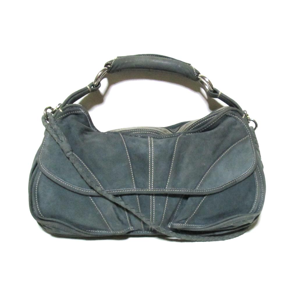 CoSTUME NATIONAL コスチューム ナショナル イタリア製 スエードレザーバッグ (ブルーグレー 革 皮 鞄) 110162 【中古】
