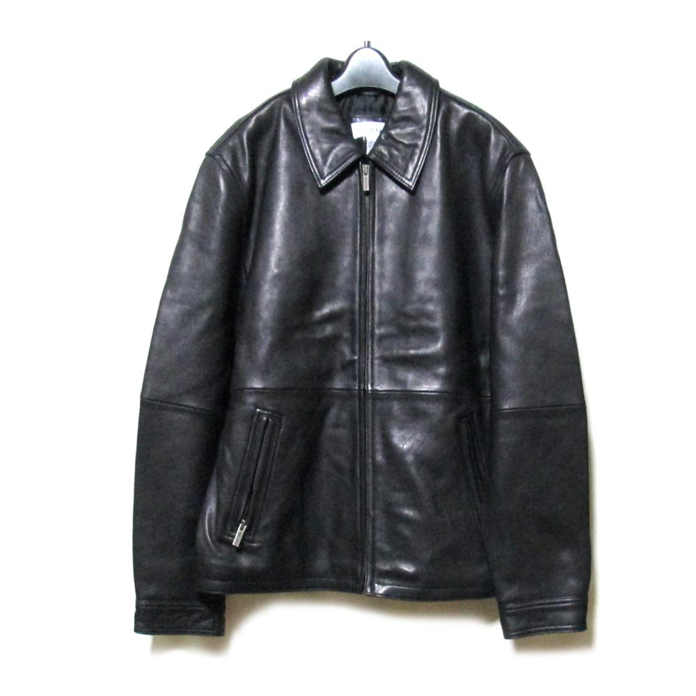 《週末限定タイムセール》 \3980以上購入で 送料無料 Calvin Klein カルバンクライン M 期間限定特別価格 定番フルジップレザージャケット 皮 110283 ブルゾン 革 中古 黒