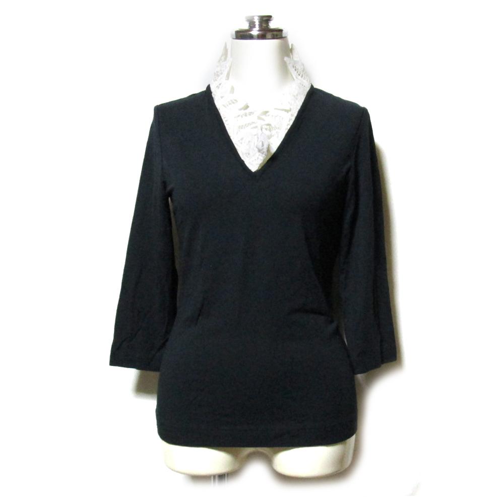バーゲンセール \3980以上購入で 送料無料 YUKIKO HANAI ユキコ ハナイ 110465 8 今季も再入荷 Tシャツ レース装飾カットソー 中古 黒