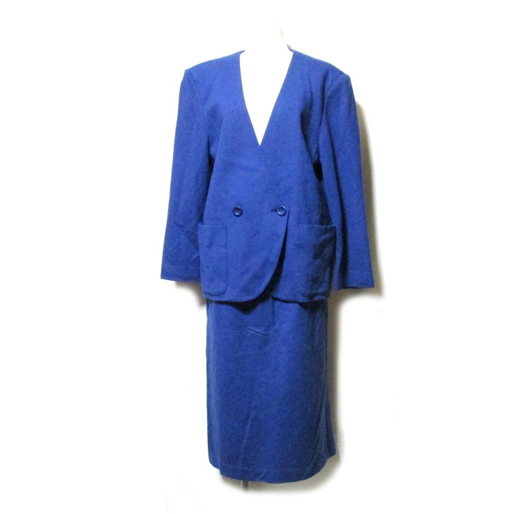 CACHAREL キャシャレル マオカラーセットアップスーツ (紺 ネイビー レトロ スカート) 110532 【中古】